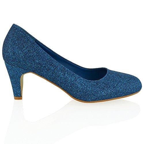 Essex Glam Women's Glitter Slip On Low Heel Evening Bridal Court Shoes Navy Glitter tLGgZgQIR5