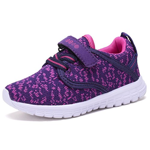 COODO CD3001 Kid's Lightweight Sneakers Girls Cute Casual Running Shoes New PURPLE/PINK-12