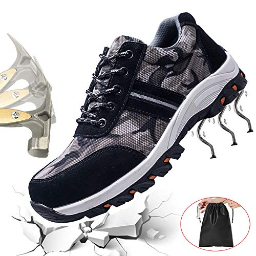 Getch Men's Work Safety Shoes S3 Steel Toe Puncture Proof, Lightweight Non-Slip Industrial & Construction Outdoor Casual Breathable Womens Protection Footwear Camouflage Black 44 ()