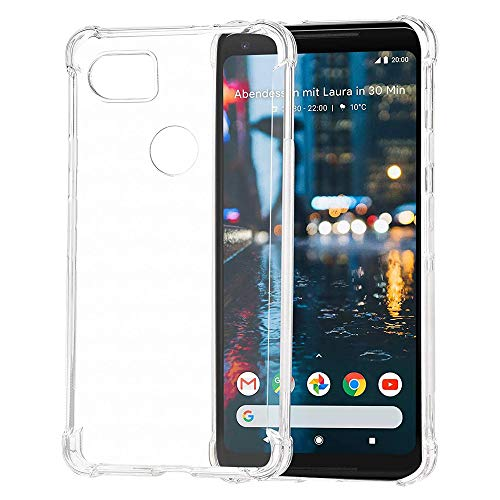 Google Pixel 2 XL Clear Shock Proof Case with 4 Reinforced Corner Cushions Soft TPU Silicone Shock Absorption Bumper Pixel 2XL Cover(Clear)