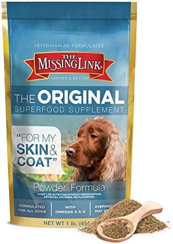 The Missing Link Original All Natural Superfood Dog Supplement- Balanced Omega 3 6 to support Healthy Skin Coat – Skin Coat Formula – 1 lb.