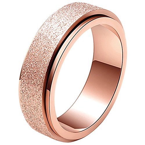 LANHI Unisex's 6mm Stainless Steel Spinner Ring Rose Gold Matte Sand Blast Finish Size 10