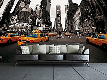 1 Wall New York City Yellow Taxi Wall Mural Wood Black and White