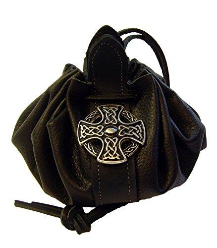 Lederbeutel Dukatenbeutel Geldkatze Farbe schwarz Kreuz der Kelten
