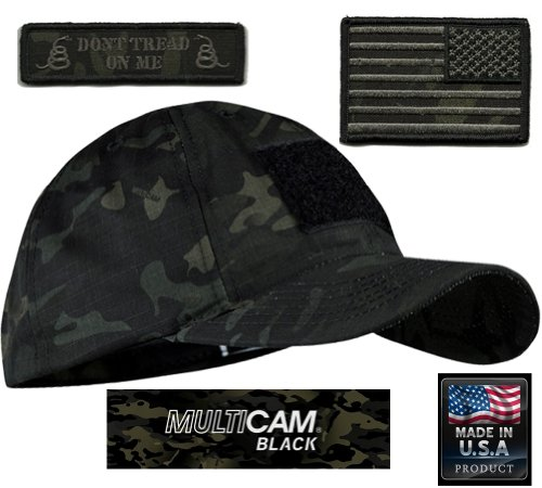 Rev Cam - Gadsden and Culpeper MULTICAM-BLACK Tactical Patch & Hat Bundle (Reverse-USA/DTOM patches)