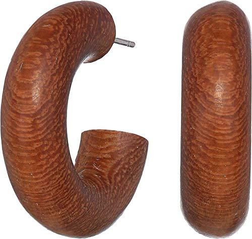 (Kenneth Jay Lane Women's Dark Wood Smalll Hoop Earrings Dark Wood One Size)