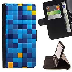 Momo Phone Case / Flip Funda de Cuero Case Cover - Patrón cuadrados Chechkered Azul Amarillo - Sony Xperia Style T3