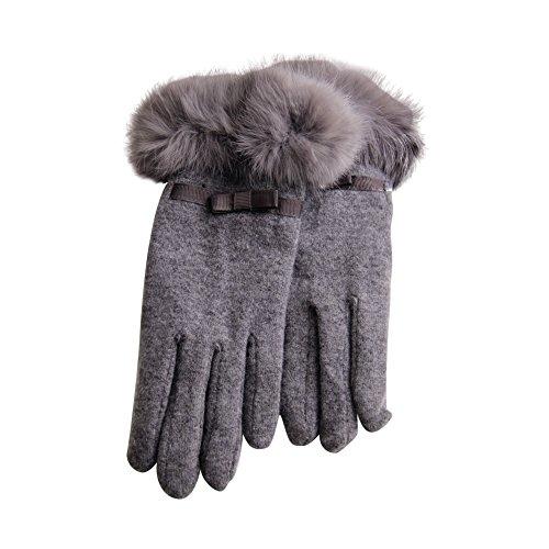 DJHbuy レディース 秋冬 防寒 ふわふわ ファー ウール 手袋 アウトドア 厚手 グローブ