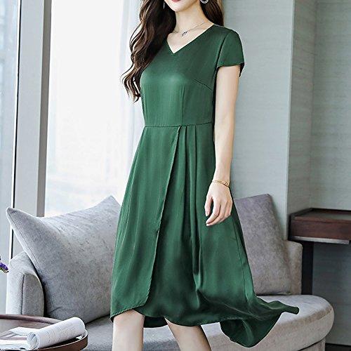 Tierdruck Kleid Grün Übergröße Seide S8821 Abendkleid Midi Kleider DISSA Cocktail Damen 0EqTvC