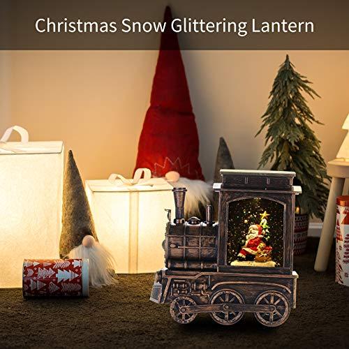 Weihnachtslaterne in Zugform, Schneelaterne mit Musik und Weihnachtsmann, wassergefüllt mit Schneegestöber, USB-oder Batteriebetriebene Schneekugel, LED Glitzer Laterne Weihnachtsdeko Innen, Zuhause