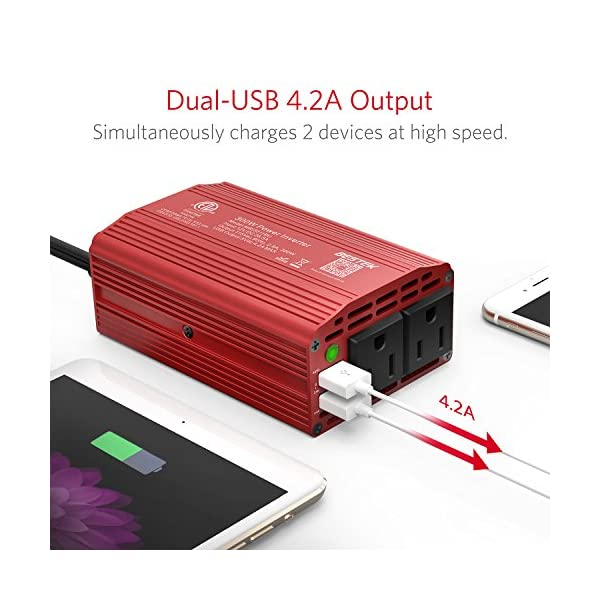 BESTEK 300W Power Inverter DC 12V To 110V AC Car Inverter With 42A Dual USB Car Adapter