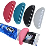 4 Pack Toothpaste Tube Squeezer Dispenser, 4 Colors (White Black Red and Blue)
