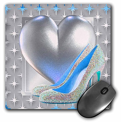 Bling Heart Bling (3dRose LLC 8 x 8 x 0.25 Inches Mouse Pad, Silver and Blue toned Heart and Bling Shoe (mp_108156_1))