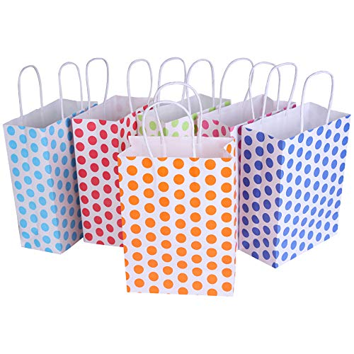 24 Pieces Kraft Paper Cute Dots Party Favor Bags with Handle Assorted Colors (Cute Dots) ()