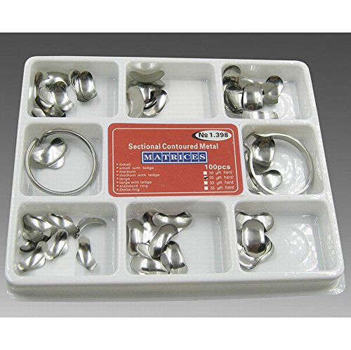 Vinmax 100pcs Dental Set of Matrix Sectional Contoured Metal Matrices No.1.398 lmws + 2 Rings by vinmax