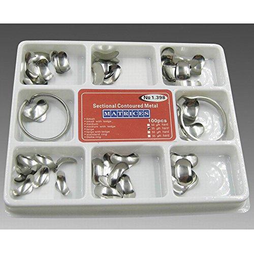 Vinmax 100pcs Dental Set of Matrix Sectional Contoured Metal Matrices No.1.398 lmws + 2 Rings