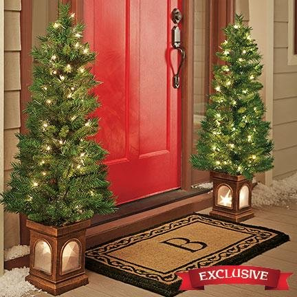 4-foot Tall lighted Porch Trees - Set of 2 by Unique's Shop