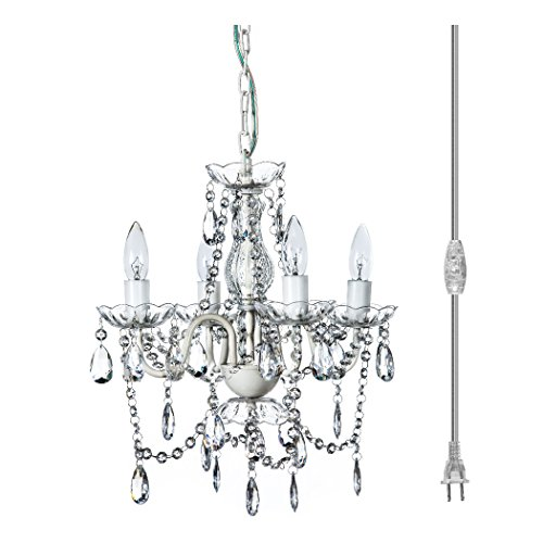 The Original Gypsy Color 4 Light Small Shabby Chic Plug-In Crystal Chandelier for H16