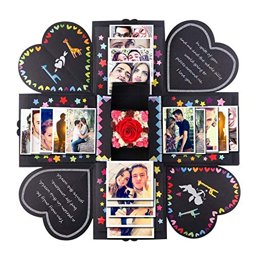 Creative Explosion Gift Box, Wedding Scrapbook Memory Gift DIY Accessories Photo Album as Merry Christmas Birthday Gift Anniversary Surprise Box Scrapbooking About Love Opend with 14''x14''(Black)