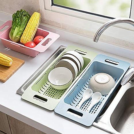 Estante para vajilla de Cocina Escurridor retr/áctil para Fregadero de pl/ástico Estante para Almacenamiento de Verduras Markcur