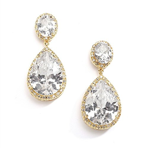 Mariell 14K Gold Plated CZ Clip On Wedding Earrings with Oval-Cut Halos and Bold Pear-Shaped Dangles