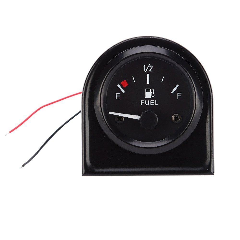 KKmoon 12V 2 '52mm Universal Car SUV Indicatore di livello carburante con sensore carburante Bianco LED Light Black Shell Indicatore livello carburante