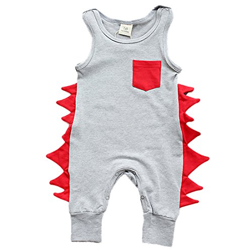 Baby Boys Cotton Cartoon Bodysuit Romper Sleeveless Jumpsuit Playsuit Outfits (Baby Dinosaur Cartoon)