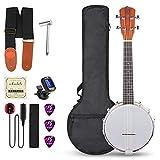 Vangoa 23 Inch 4 Strings Concert Banjos Ukulele Banjolele Uke Sapele Kit with Self-adhesive Pickup