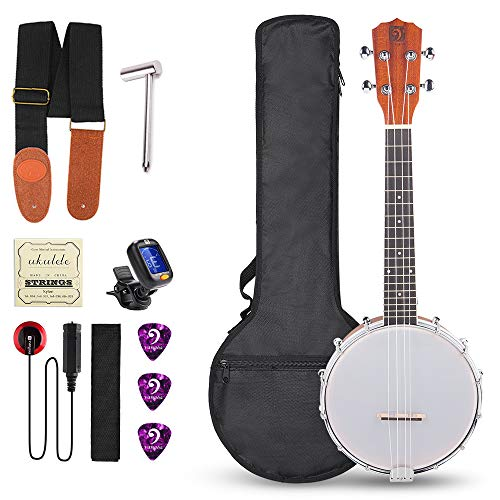 Vangoa 4 Strings Concert 23 Inch Banjo Uke Ukulele Banjos Banjolele Sapele Wood Kit with Wretch and Self-adhesive Pickup