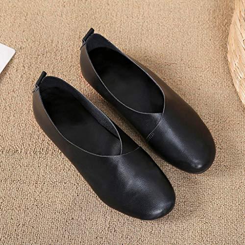 35 Printemps Couleur Femme 43 Femmes Été Sonnena Taille Solide Grande Plates Casual Mode Rond Noir Chaussures De Vintage Mocassins Bout TxwqO4f