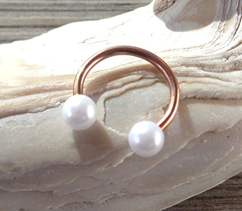 Rose Gold Horseshoe Circular Barbell Pearl Septum,Helix,Cartilage,Scaffold,Upper Ear,Lobe,Nose Ring. (Pearl Horseshoes)