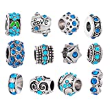 Souarts Silver Color Mixed Blue Rhinestone Flower European Beads for Charms Bracelet Pack Of 12pcs