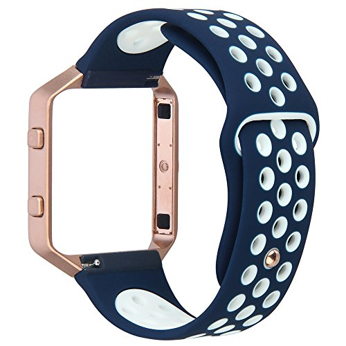 For Fitbit Blaze Band,TOROTOP Large Silicone Replacement Band with Rose Gold Frame for Fitbit Blaze Smart Fitness Watch - Navy And Rose Gold