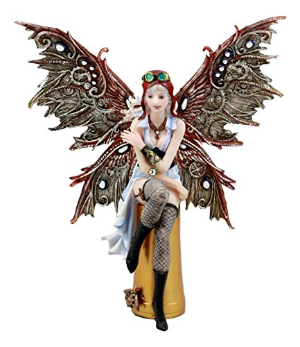 Ebros Steampunk Aviator Fairy Sitting On Bullet Case Figurine 11