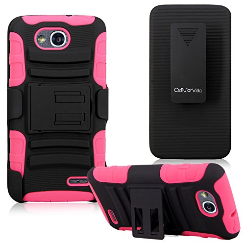 Cellularvilla LG Optimus L90 Dual D410 / Optimus Exceed 2 W7 D415 D405 T-Mobile Pink Black Prime Series Hard Soft Dual Layer Holster Case KickStand with Locking Belt Swivel Clip Cover Protector (Lg L90 Phone Cover T Mobile)