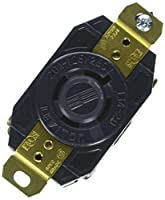 Leviton 2410-B 20-Amp, 125/250-Volt, Flush Mounting Locking Receptacle, Industrial Grade, Grounding, All Black- Black