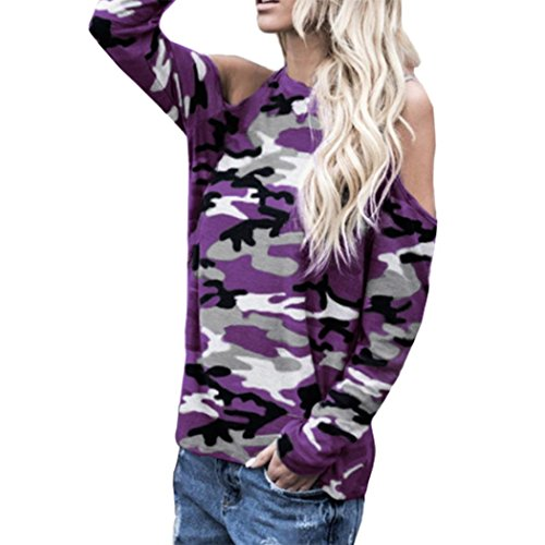 Spbamboo Women Camo Off Shoulder Camouflage Long Sleeve Blouse Tops T-Shirt by Spbamboo