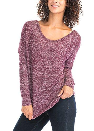 Luna Flower Women's Sheer See-Through Heather Wide Open Boat Neck Thin Lightweight Knit Sweater Tops BURGUNDY S