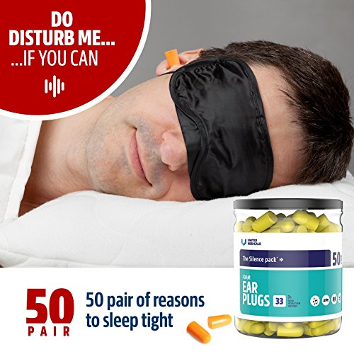 United-Medicals-Ear-Plugs-Soft-Foam-Earplugs-pack-of-50Free-3d-Sleep-Mask
