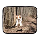 13 15 inch Dog Running in The Autumn Forest Laptop Sleeve Bag Water Resistant