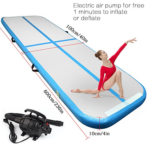 FBSPORT 19.68ft air track tumbling mat inflatable gymnastics airtrack with Electric Air Pump for Practice Gymnastics,Cheerleading, Tumbling, Free Running (Parkour), and Martial Arts