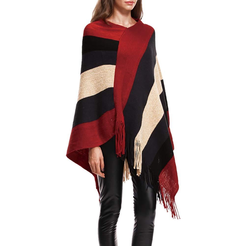 KOERIM Women's Stripe Knitted Poncho Top Tassel Asymmetric Hem Pullover Shawl