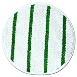 Rubbermaid Commercial RCP P267 Low Profile Scrub-Strip Carpet Bonnet, 17'' Diameter, White/Green