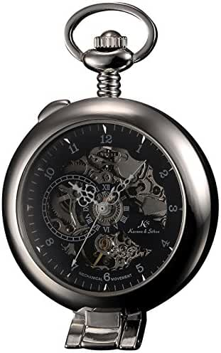 KS-KSP063, Men's Half Hunter Hand Wind Mechanical Pocket Watch