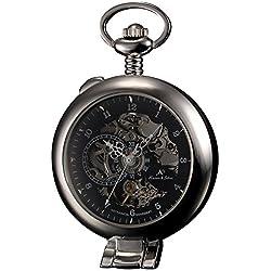 KS-KSP063, Men's Half Hunter Hand Wind Mechanical Pocket Watch