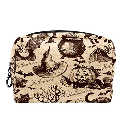 MAPOLO Vintage Halloween Black Cat Bat Makeup Bag Toiletry Bag for Women Skincare Cosmetic Handy Pouch Zipper Handbag -