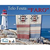 Toalla de playa Fouta con dibujo de faro, tamaño grande, 100 x 200 cm, color azul
