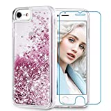 Maxdara iPhone 8 Case, iPhone 7 Glitter Liquid Women Case Tempered Glass Screen Protector Floating Bling Sparkle Luxury Pretty Protective Girls Case for iPhone 6 6s 7 8 4.7 inches (Rosegold)