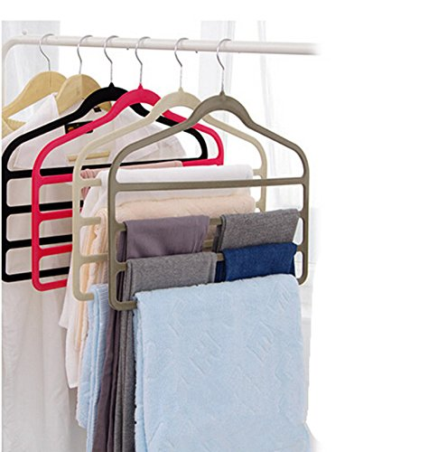 Magic Multi Layer Pants Drying Flocking Hanger Trousers Holder No Slip Closet (Multi Magic Scarf)