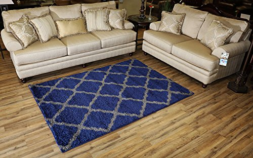 SOHO Shaggy Collection Trellis Lattice Design Shag Area Rug Rugs 3 Color Options (Navy Blue, 5 x 7)